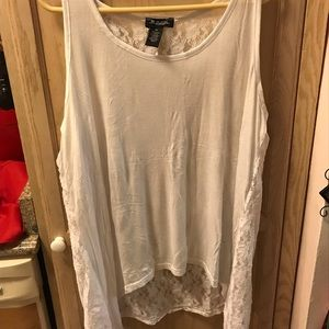 Tops - Plus size white lace tang top